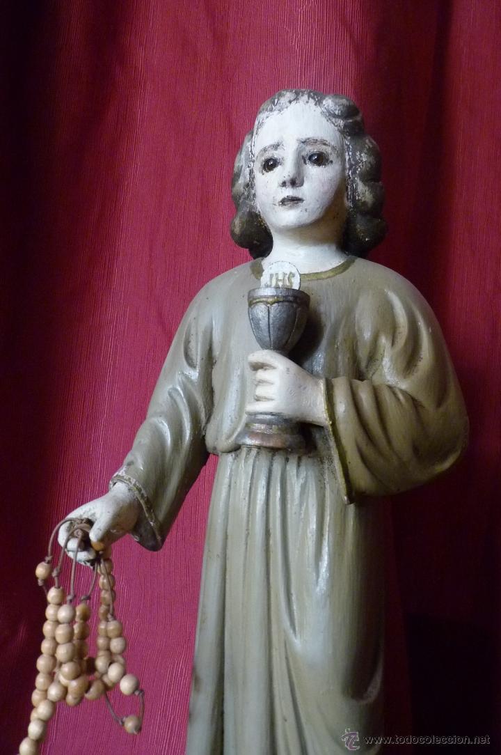 Arte: IMAGEN RELIGIOSA PRECIOSA TALLA EN MADERA NIÑO JESÚS CON CÁLIZ ANTIGUA - Foto 3 - 44255832