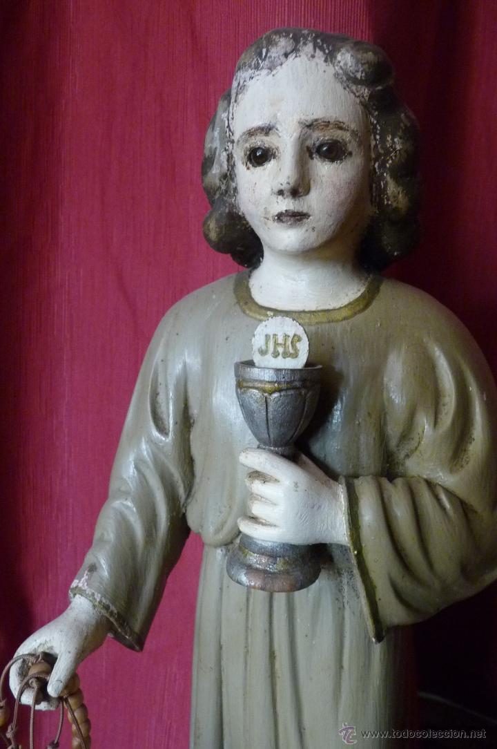 Arte: IMAGEN RELIGIOSA PRECIOSA TALLA EN MADERA NIÑO JESÚS CON CÁLIZ ANTIGUA - Foto 4 - 44255832