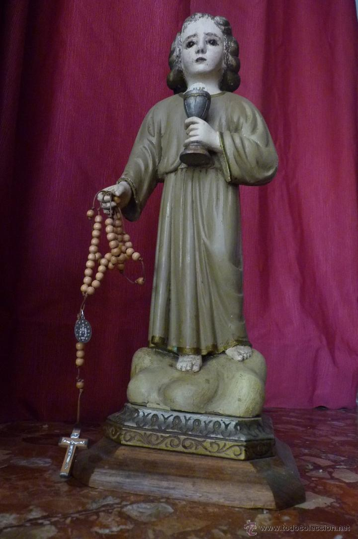 Arte: IMAGEN RELIGIOSA PRECIOSA TALLA EN MADERA NIÑO JESÚS CON CÁLIZ ANTIGUA - Foto 8 - 44255832
