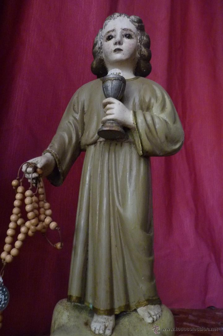 Arte: IMAGEN RELIGIOSA PRECIOSA TALLA EN MADERA NIÑO JESÚS CON CÁLIZ ANTIGUA - Foto 9 - 44255832