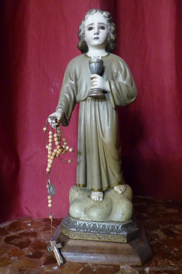 Arte: IMAGEN RELIGIOSA PRECIOSA TALLA EN MADERA NIÑO JESÚS CON CÁLIZ ANTIGUA - Foto 10 - 44255832