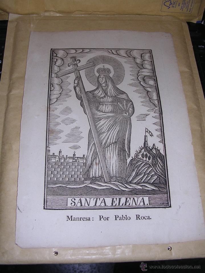 ANTIGUO GRABADO SANTA ELENA , S. XIX MANRESA POR PABLO ROCA , - 32X22 CM. (Arte - Arte Religioso - Grabados)