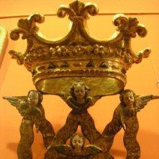 Arte: TALLA DE MADERA POLICROMADA MONOGRAMA DE LA VIRGEN MARÍA, SIGLO XVII ORIGEN CASTELLANO. Lote 40826342