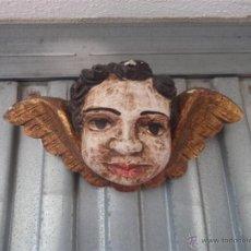 Arte: CABEZA DE ANGEL POLICROMADO MADERA. Lote 40861566