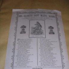 Arte: SANT MIQUEL DEL FAY - GOIGS EN ALABANSA DEL GLORIOS SANT MARTI BISBE S. XIX - 30,5X22 CM. . Lote 40910124