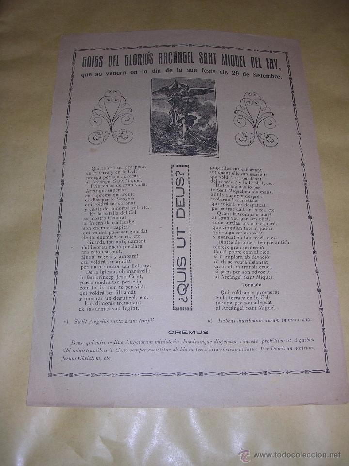 SANT MIQUEL DEL FAY , GOIGS DEL GLORIOS ARCANGEL SANT MIQUEL S. XIX - 32X21,5 CM. (Arte - Arte Religioso - Grabados)