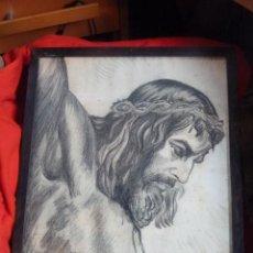 Arte: IMAGEN RELIGIOSA, CUADRO, PRECIOSO DIBUJO A CARBONCILLA ROSTRO DE CRISTO CRUCIFICADO, ANTIGUO. Lote 40969694