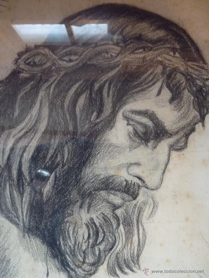 Arte: IMAGEN RELIGIOSA, CUADRO, PRECIOSO DIBUJO A CARBONCILLA ROSTRO DE CRISTO CRUCIFICADO, ANTIGUO - Foto 2 - 40969694
