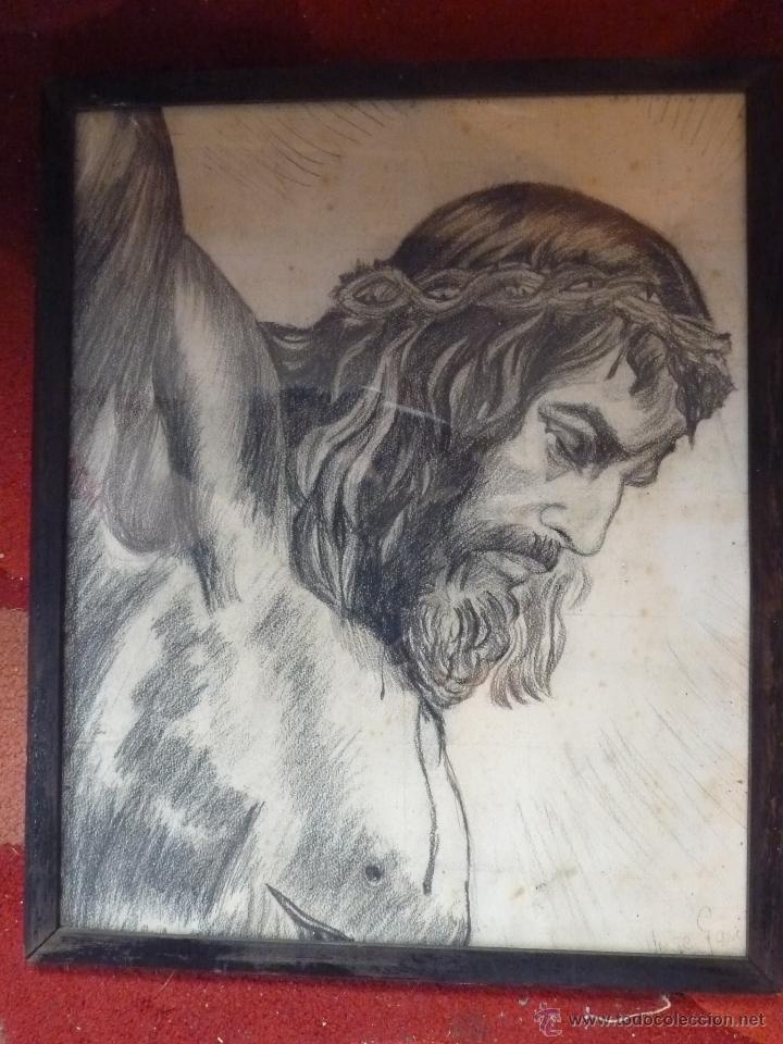 Arte: IMAGEN RELIGIOSA, CUADRO, PRECIOSO DIBUJO A CARBONCILLA ROSTRO DE CRISTO CRUCIFICADO, ANTIGUO - Foto 3 - 40969694