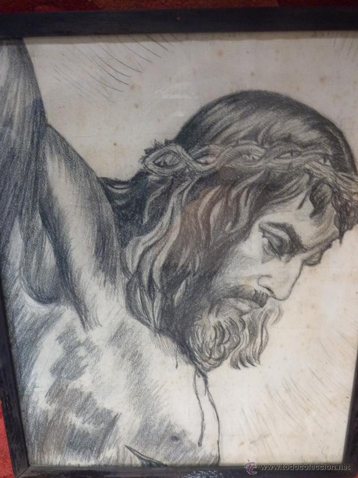 Arte: IMAGEN RELIGIOSA, CUADRO, PRECIOSO DIBUJO A CARBONCILLA ROSTRO DE CRISTO CRUCIFICADO, ANTIGUO - Foto 4 - 40969694