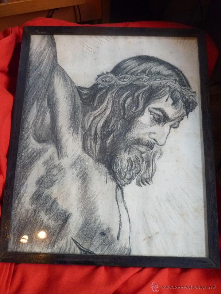Arte: IMAGEN RELIGIOSA, CUADRO, PRECIOSO DIBUJO A CARBONCILLA ROSTRO DE CRISTO CRUCIFICADO, ANTIGUO - Foto 5 - 40969694