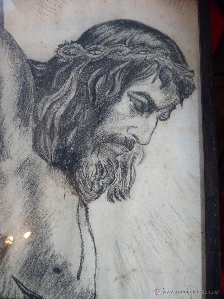 Arte: IMAGEN RELIGIOSA, CUADRO, PRECIOSO DIBUJO A CARBONCILLA ROSTRO DE CRISTO CRUCIFICADO, ANTIGUO - Foto 6 - 40969694