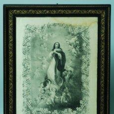 Arte: VIRGEN PURISIMA CONCEPCIÓN CON LETANÍAS ROSARIO IMPRESIÓN SOBRE SEDA AMECAMECA MÉXICO 1888. Lote 41024682