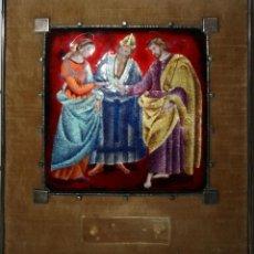 Arte: ESMALTE REALIZADO A MANO SOBRE METAL, CON ADORNOS EN PLATA, BODA DE MARÍA Y JOSÉ, AÑOS 50, S. XX. Lote 41039253