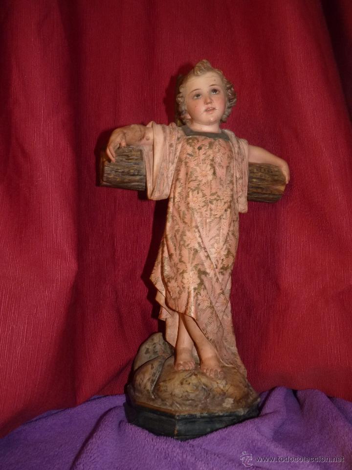 Arte: IMAGEN RELIGIOSA, BELLÍSIMO NIÑO JESÚS SOBRE CRUZ, DE OLOT GRAN TAMAÑO - Foto 2 - 86965199