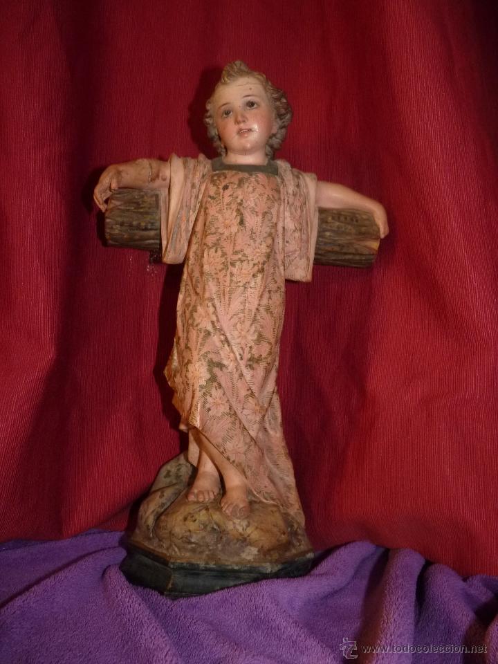 Arte: IMAGEN RELIGIOSA, BELLÍSIMO NIÑO JESÚS SOBRE CRUZ, DE OLOT GRAN TAMAÑO - Foto 3 - 86965199
