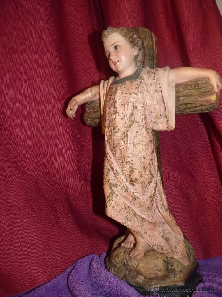Arte: IMAGEN RELIGIOSA, BELLÍSIMO NIÑO JESÚS SOBRE CRUZ, DE OLOT GRAN TAMAÑO - Foto 7 - 86965199