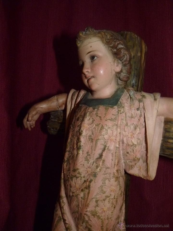Arte: IMAGEN RELIGIOSA, BELLÍSIMO NIÑO JESÚS SOBRE CRUZ, DE OLOT GRAN TAMAÑO - Foto 8 - 86965199
