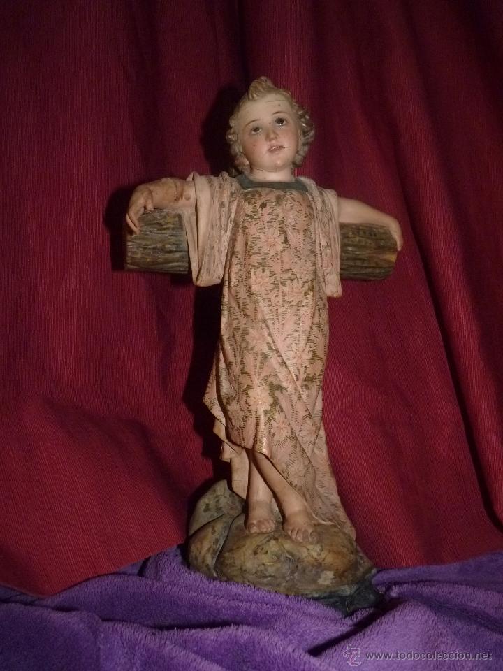 Arte: IMAGEN RELIGIOSA, BELLÍSIMO NIÑO JESÚS SOBRE CRUZ, DE OLOT GRAN TAMAÑO - Foto 10 - 86965199