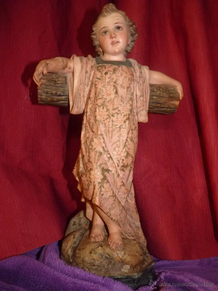 Arte: IMAGEN RELIGIOSA, BELLÍSIMO NIÑO JESÚS SOBRE CRUZ, DE OLOT GRAN TAMAÑO - Foto 11 - 86965199