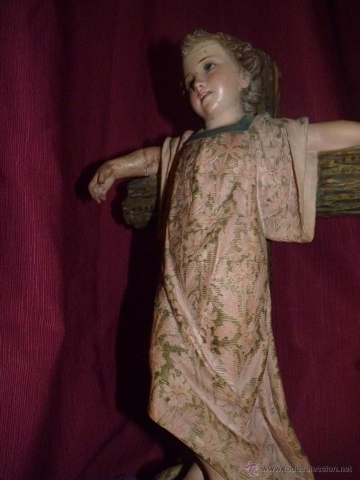 Arte: IMAGEN RELIGIOSA, BELLÍSIMO NIÑO JESÚS SOBRE CRUZ, DE OLOT GRAN TAMAÑO - Foto 15 - 86965199