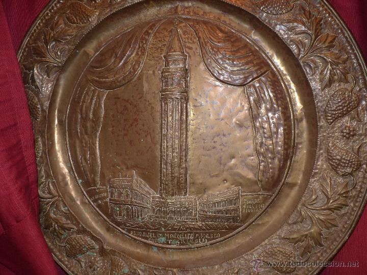 ORFEBRERÍA RELIGIOSA, PRECIOSO PLATO DE COBRE EN RELIEVE CATEDRAL DE SAN MARCO, FECHADO ROMA 1902 (Arte - Arte Religioso - Iconos)