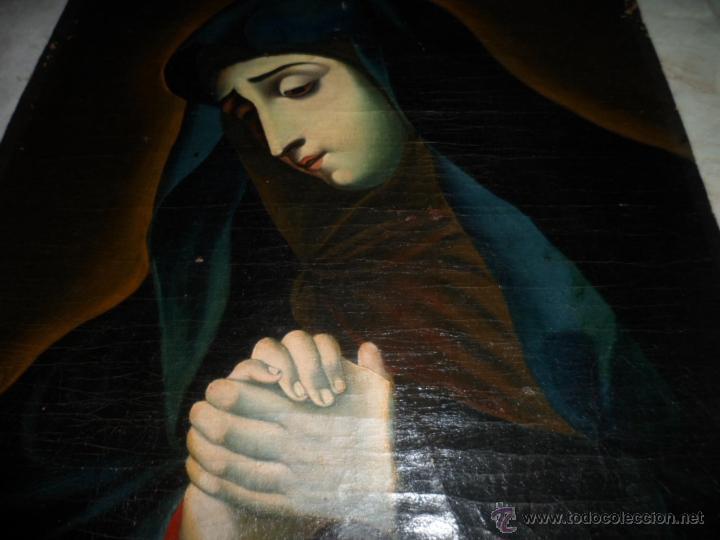 ANTIGUO OLEO DE LA VIRGEN MARIA: SIGLO 18 [TELA MUY ANTIGUA] (Arte - Arte Religioso - Pintura Religiosa - Oleo)