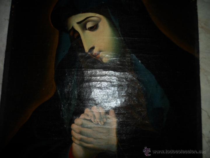 Arte: Antiguo oleo de la Virgen Maria: Siglo 18 [tela muy antigua] - Foto 2 - 41173093