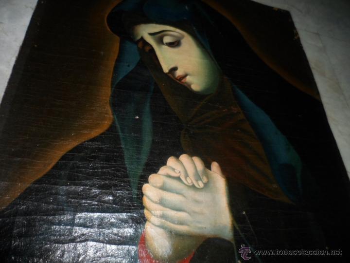 Arte: Antiguo oleo de la Virgen Maria: Siglo 18 [tela muy antigua] - Foto 3 - 41173093