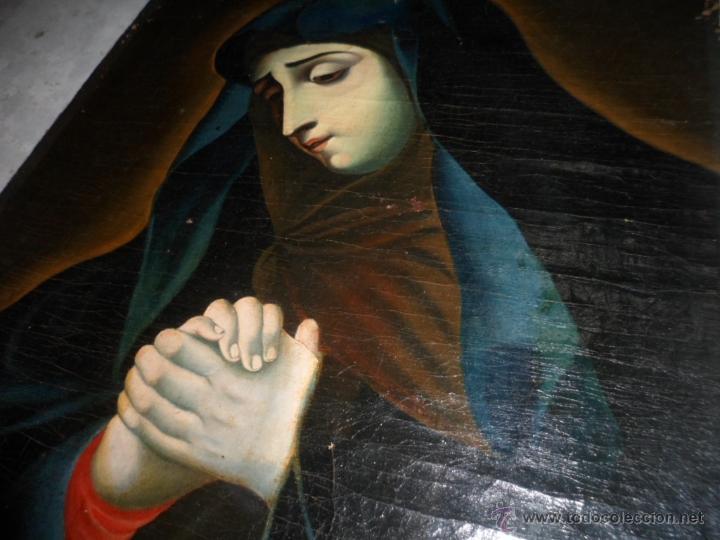Arte: Antiguo oleo de la Virgen Maria: Siglo 18 [tela muy antigua] - Foto 4 - 41173093