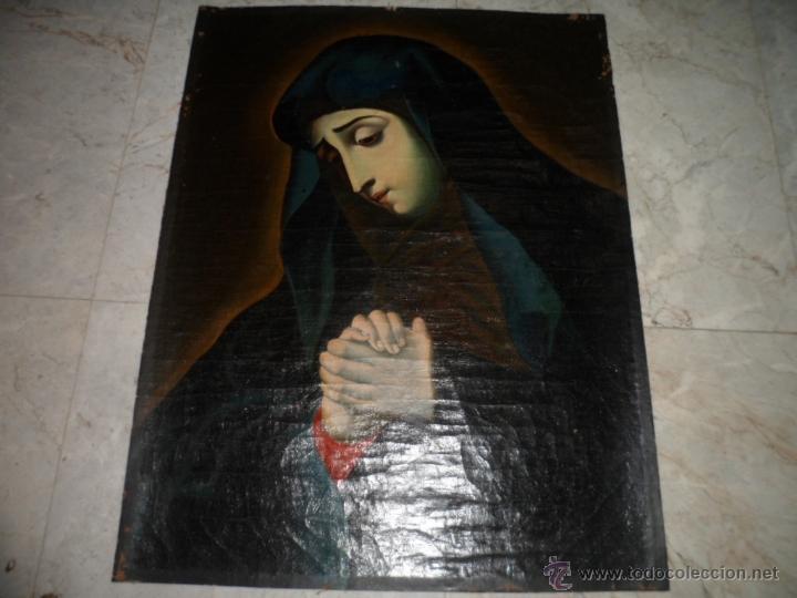 Arte: Antiguo oleo de la Virgen Maria: Siglo 18 [tela muy antigua] - Foto 9 - 41173093