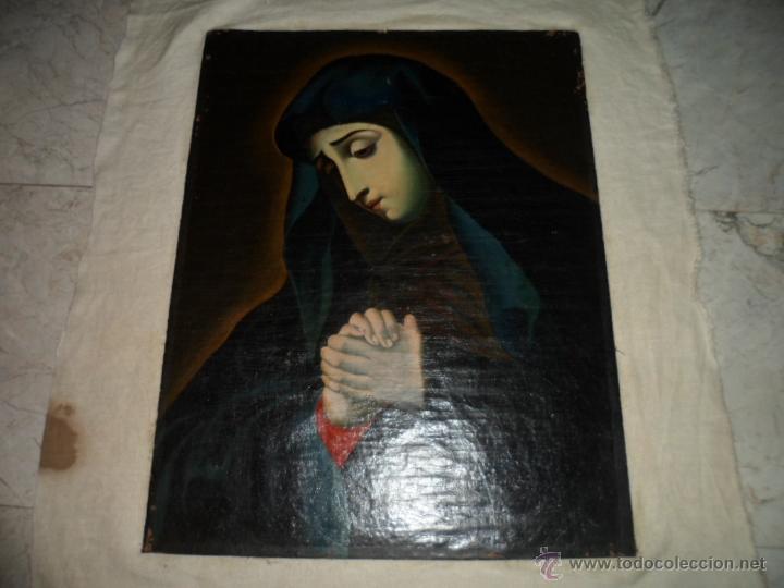 Arte: Antiguo oleo de la Virgen Maria: Siglo 18 [tela muy antigua] - Foto 20 - 41173093