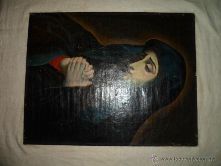 Arte: Antiguo oleo de la Virgen Maria: Siglo 18 [tela muy antigua] - Foto 21 - 41173093