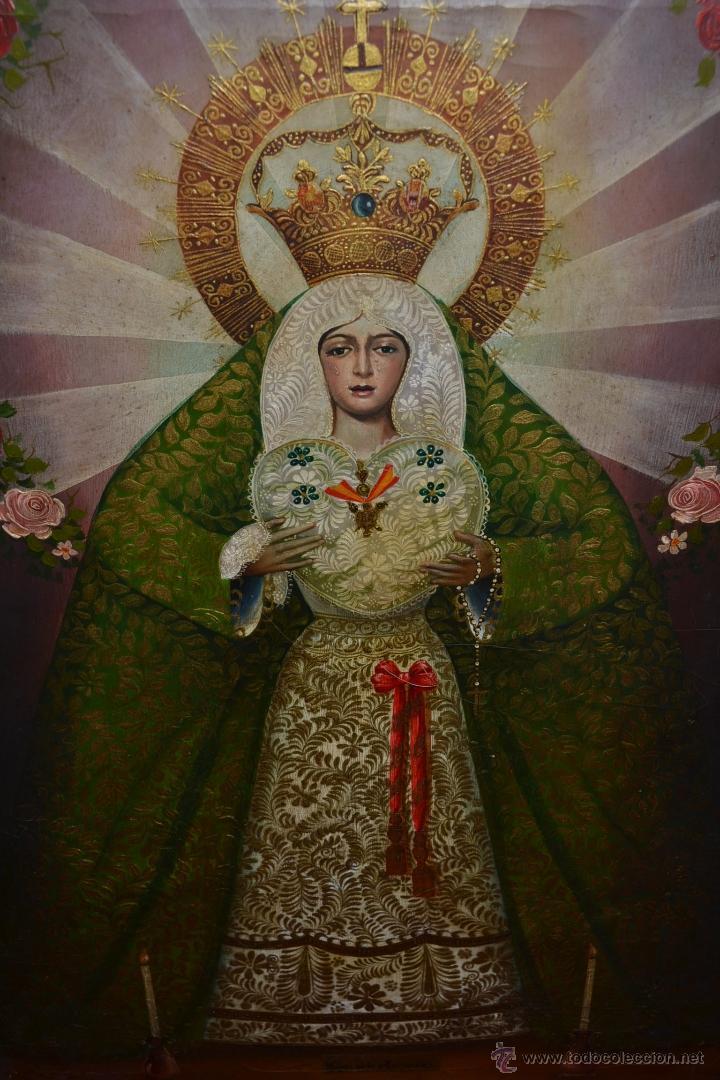preciosa pintura oleo lienzo antiguo virgen de - Comprar