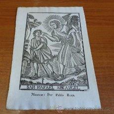 Arte: SAN RAFAEL ARCANGEL. GRABADO A LA MADERA PRIMERA MITAD S. XIX. MANRESA, IMP. PABLO ROCA.. Lote 41226370