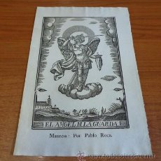 Arte: EL ANGEL DE LA GUARDA. GRABADO A LA MADERA PRIMERA MITAD S. XIX. MANRESA, IMP. PABLO ROCA.. Lote 41226514