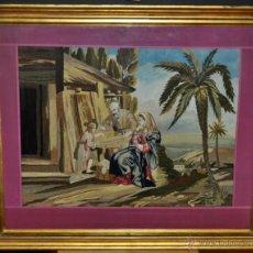 Arte: COMPOSICIÓN BORDADA Y PINTADA SOBRE SEDA DEL SIGLO XIX. LA SAGRADA FAMILIA EN EL TALLER. Lote 41227052