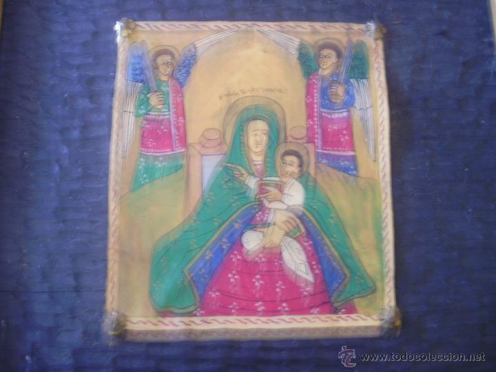 MAGNIFICO PERGAMINO POLICROMADO DE VIRGEN CON NIÑO Y ANGELES CUSTODIOS (Arte - Arte Religioso - Pintura Religiosa - Otros)