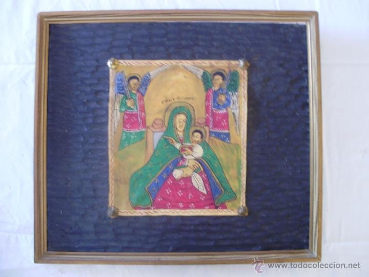 Arte: Magnifico pergamino policromado de Virgen con Niño y Angeles custodios - Foto 2 - 41291432