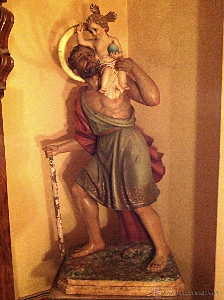 "ANTIGUA FIGURA ARTESANAL ORIGINAL "" SAN CRISTÓBAL "" DE GRANDES DIMENSIONES MEDIDAS 120X60CM (Arte - Arte Religioso - Escultura)"