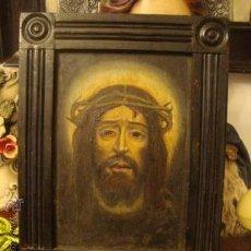 Arte: ANTIGUO OLEO SOBRE TABLA DE LA SANTA FAZ DE CRISTO, 30 ,5 X 23 EL MARCO DE MADERA DE EPOCA. Lote 32454400