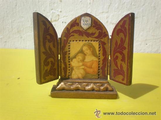 PEQUEÑO TRIPTICO DORADO (Arte - Arte Religioso - Trípticos)
