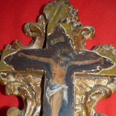 Arte: IMAGEN RELIGIOSA, OLEO SOBRE CRUCIFIJO EN MADERA SIGLO XIX. Lote 41394605