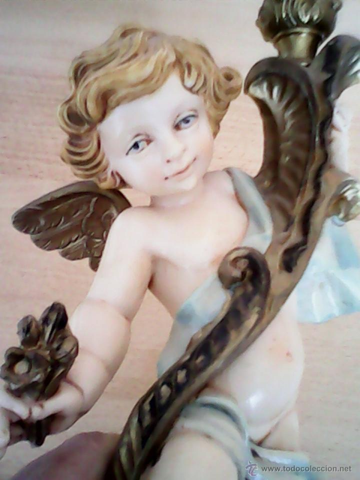 Arte: PRECIOSO ANGELITO PORTA VELAS ,MAD ITALY N. 5627 HECHO DE PLASTICO DURO EL PORTA VELAS ES DE BRONC - Foto 6 - 41468333