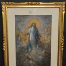 Arte: JULIO BORRELL PLA (BARCELONA, 1877-1977) DIBUJO A PASTEL DE LOS AÑOS 20. VIRGEN CON ANGELITOS. Lote 41532136