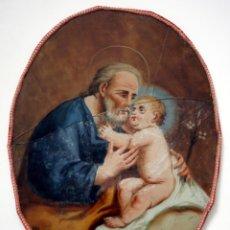 Arte: SAN JOSÉ CON EL NIÑO - ÓLEO SOBRE CRISTAL OVAL - S. XVIII. Lote 41551095
