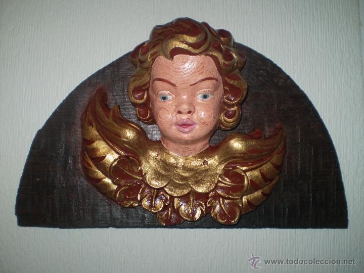 CABEZA DE ANGEL PINTADA Y DORADA (Arte - Arte Religioso - Escultura)