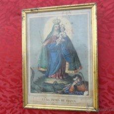 Arte: LITOGRAFIA RELIGIOSA ANTIGUA MARCO DORADO. Lote 41642450