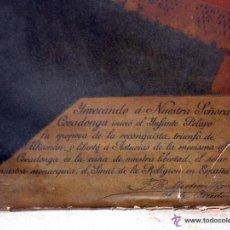 Arte: NTRA. SRA DE COVADONGA ORIGINAL S. XIX CON FIRMA EPISCOPAL DE OBISPO. Lote 41657416