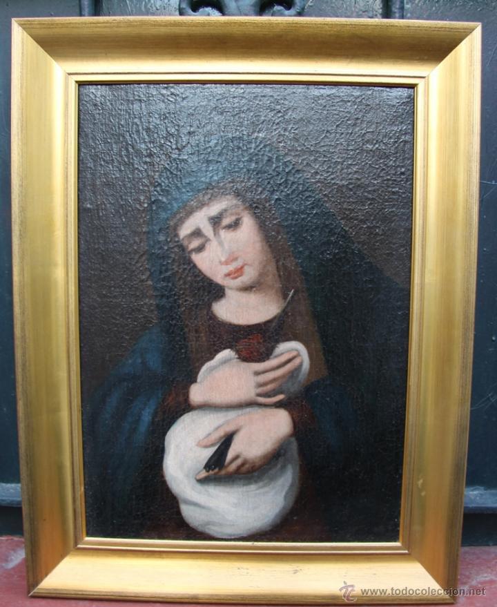 OLEO SOBRE LIENZO REENTELADO VIRGEN DOLOROSA CON GOLONDRINA EN SUS MANOS - SIGGLO XVIII XIX (Arte - Arte Religioso - Pintura Religiosa - Oleo)